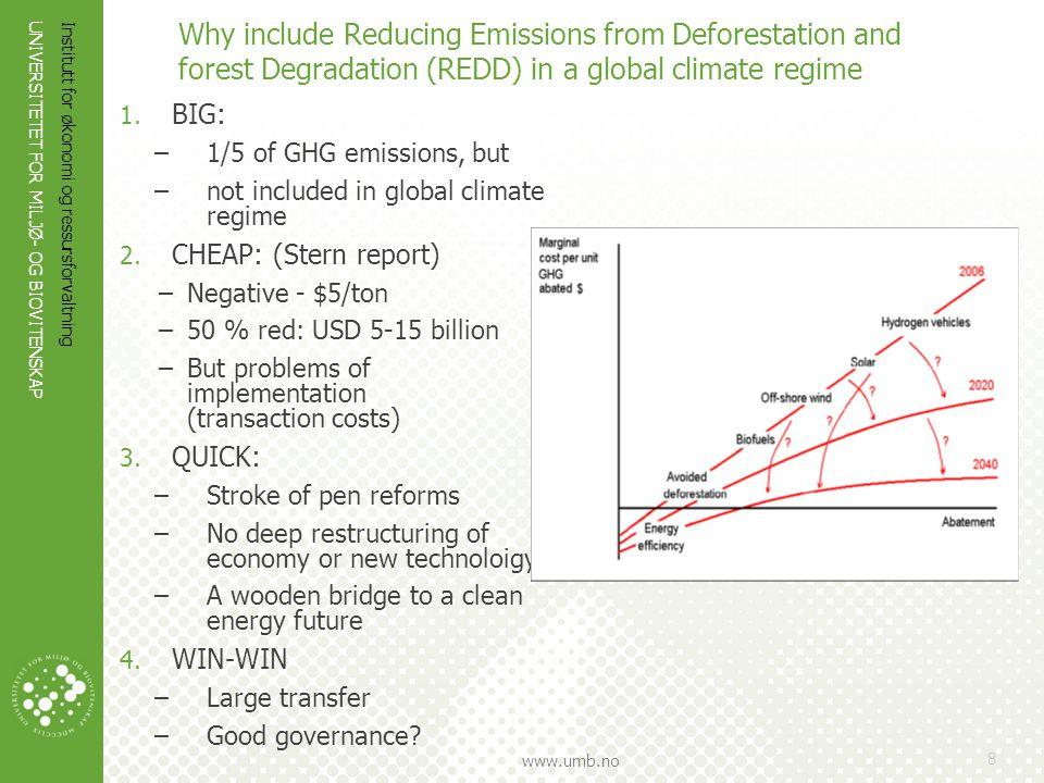 UNIVERSITETET FOR MILJØ- OG BIOVITENSKAP www.umb.no Institutt for økonomi og ressursforvaltning 8 Why include Reducing Emissions from Deforestation an