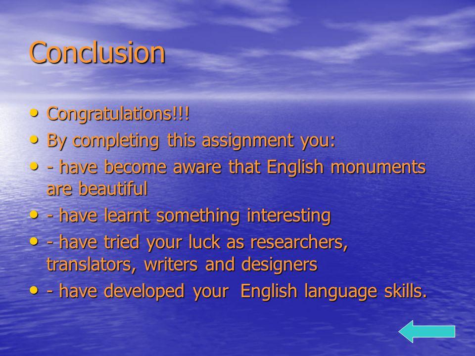 Conclusion Congratulations!!. Congratulations!!.