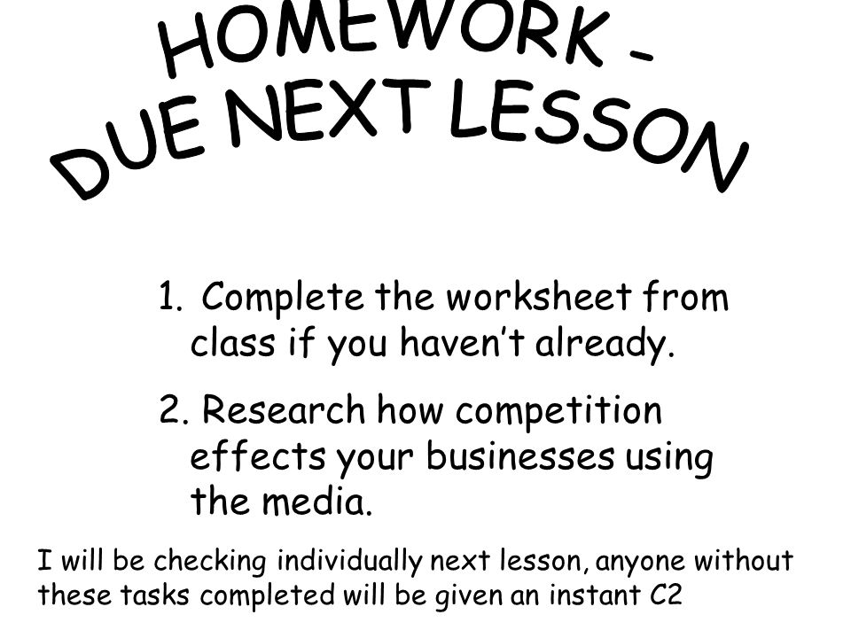 1. Complete the worksheet from class if you haven't already.