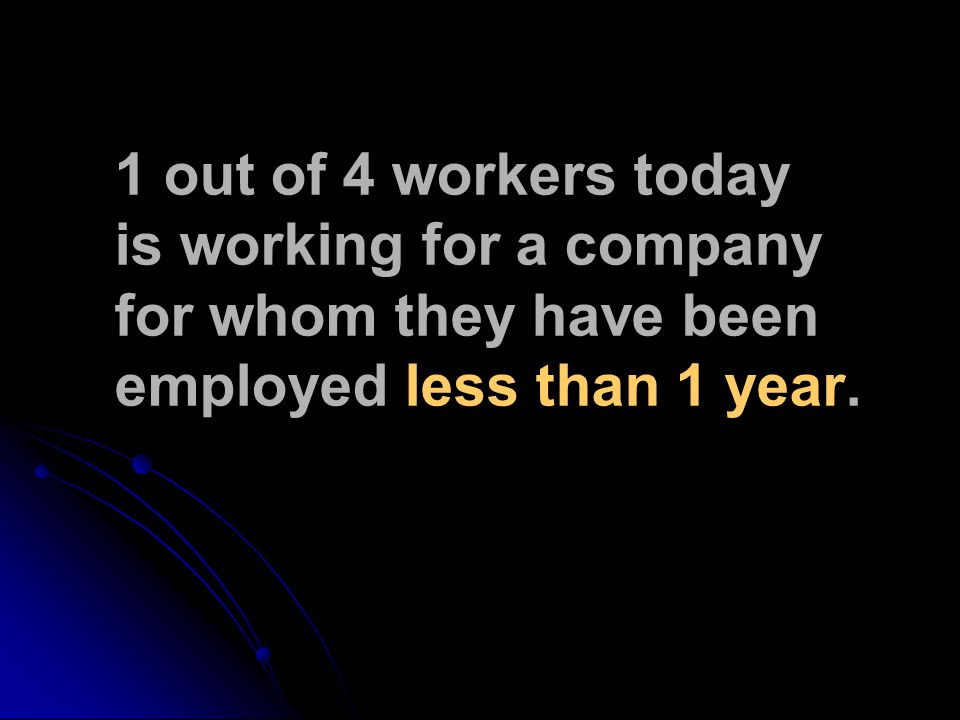 1 out of 4 workers today is working for a company for whom they have been employed less than 1 year.