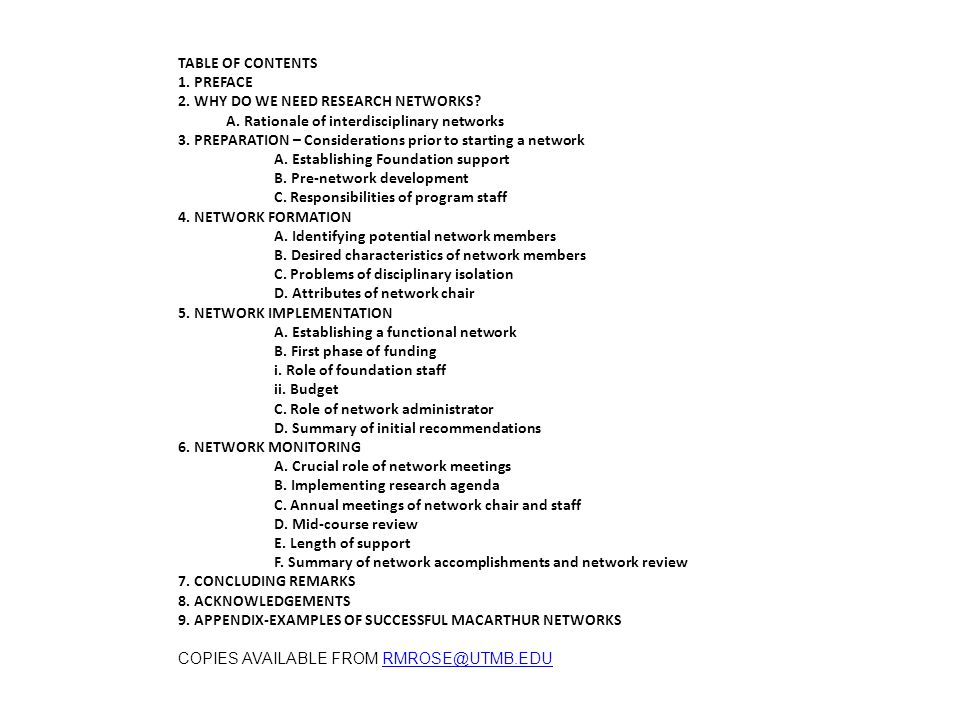 TABLE OF CONTENTS 1. PREFACE 2. WHY DO WE NEED RESEARCH NETWORKS.