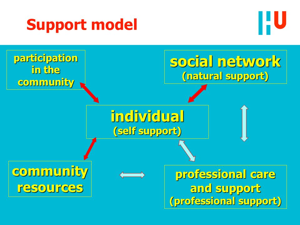 social network (natural support) individual (self support) professional care and support (professional support) community resources participation in the community Support model