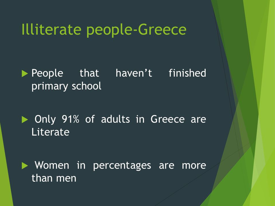 Illiterate people-Greece  People that haven't finished primary school  Only 91% of adults in Greece are Literate  Women in percentages are more than men
