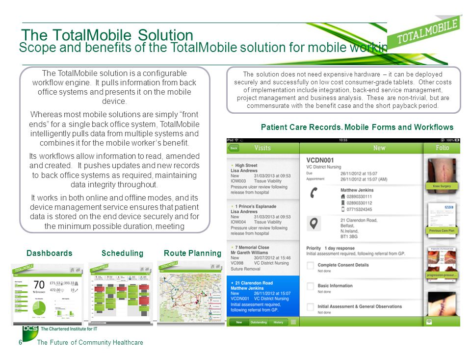 The TotalMobile Solution Scope and benefits of the TotalMobile solution for mobile working 6The Future of Community Healthcare DashboardsScheduling Route Planning Patient Care Records.