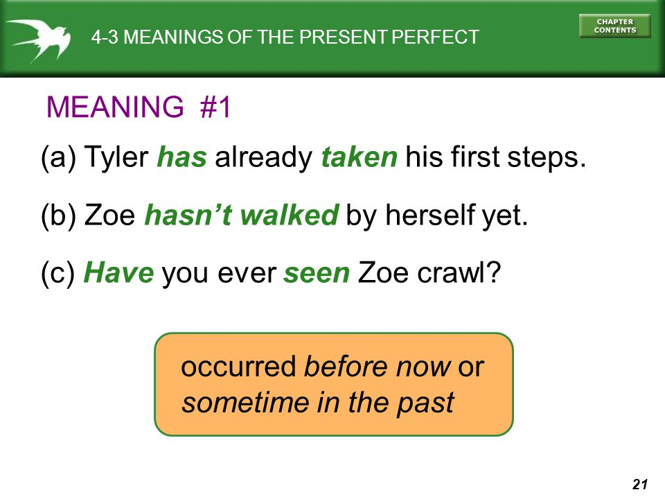 21 4-3 MEANINGS OF THE PRESENT PERFECT (a) Tyler has already taken his first steps. (b) Zoe hasn't walked by herself yet. (c) Have you ever seen Zoe c