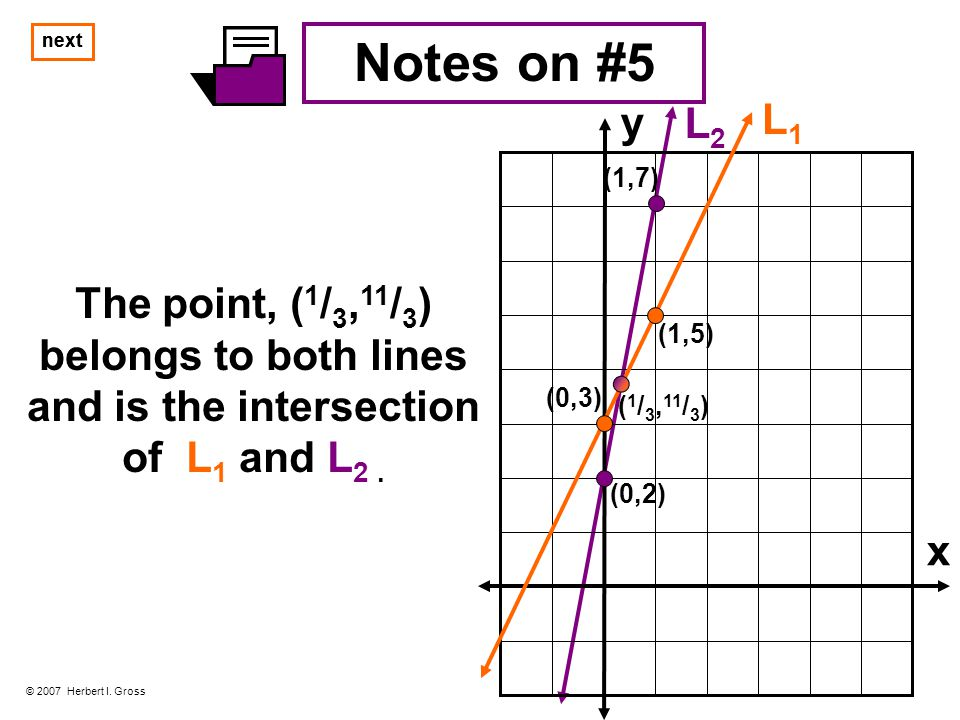 Notes on #5 The point, ( 1 / 3, 11 / 3 ) belongs to both lines and is the intersection of L 1 and L 2.