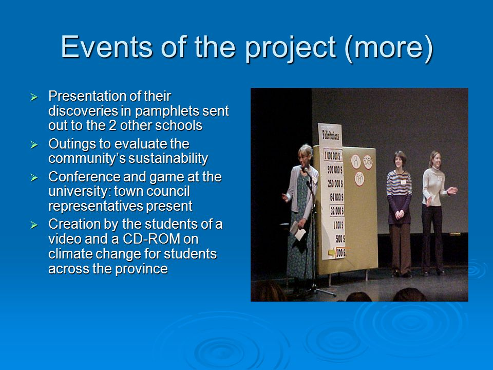 Events of the project (more)  Presentation of their discoveries in pamphlets sent out to the 2 other schools  Outings to evaluate the community's sustainability  Conference and game at the university: town council representatives present  Creation by the students of a video and a CD-ROM on climate change for students across the province