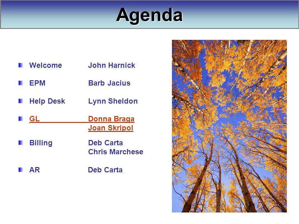 Welcome John Harnick EPM Barb Jacius Help Desk Lynn Sheldon GL Donna Braga Joan Skripol Billing Deb Carta Chris Marchese AR Deb Carta Agenda