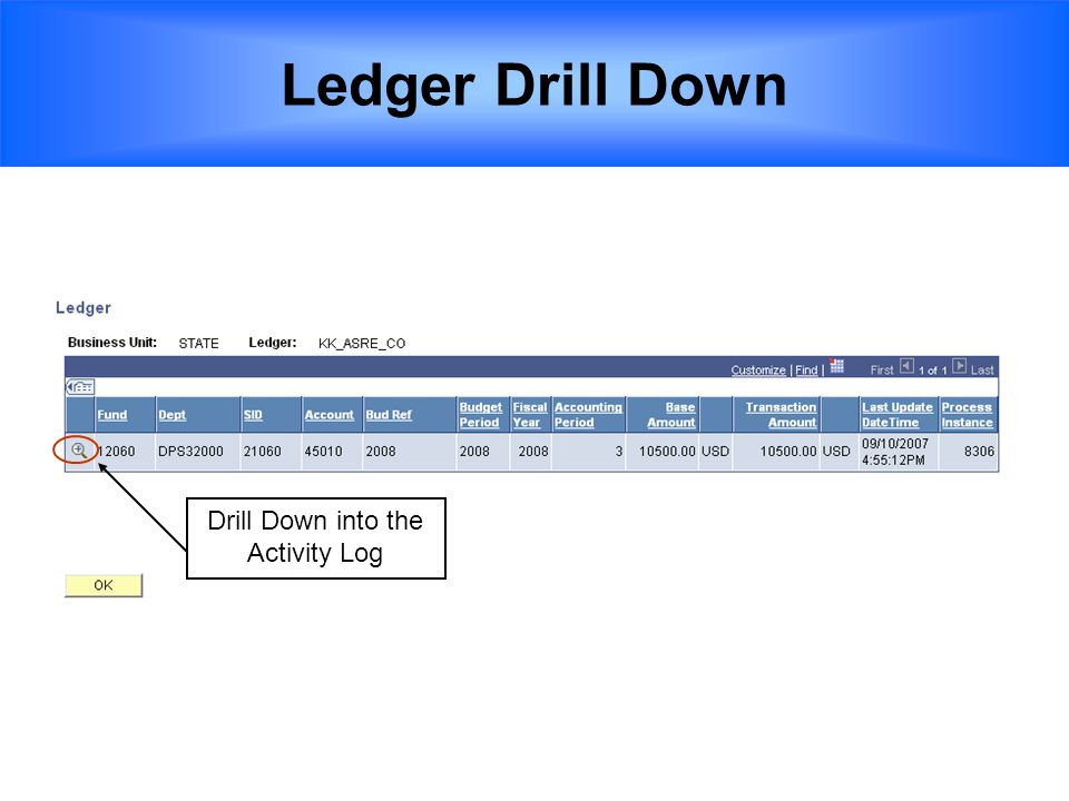 Drill Down into the Activity Log Ledger Drill Down
