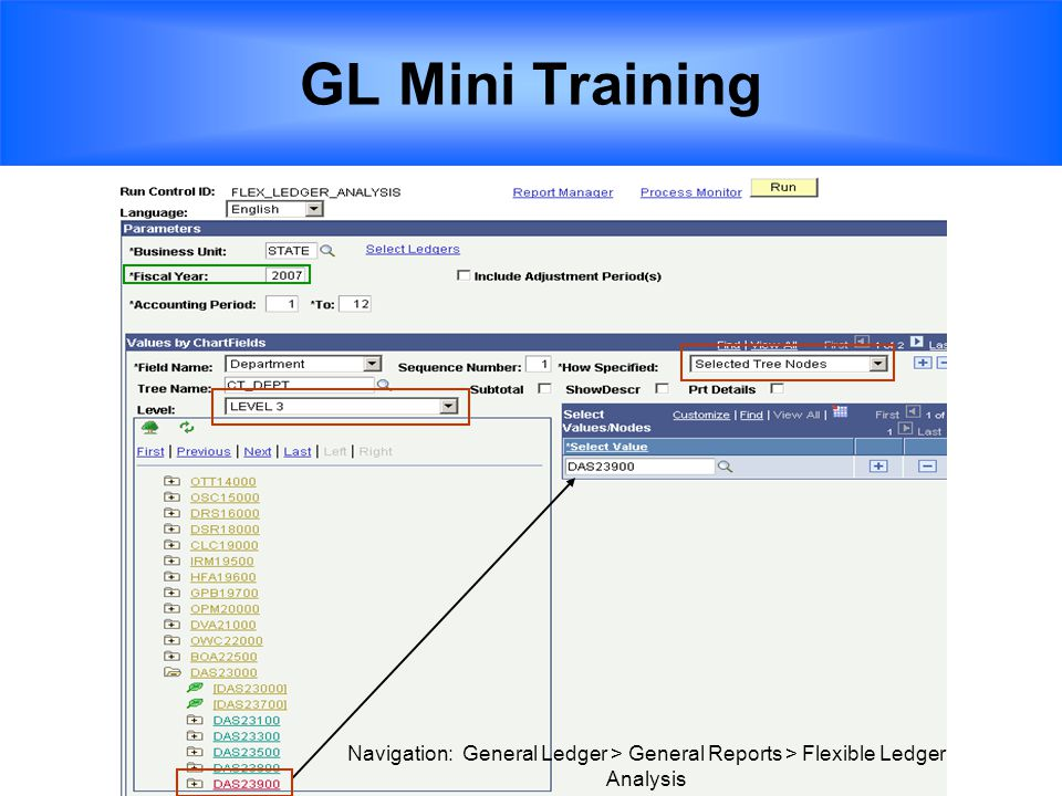GL Mini Training Navigation: General Ledger > General Reports > Flexible Ledger Analysis