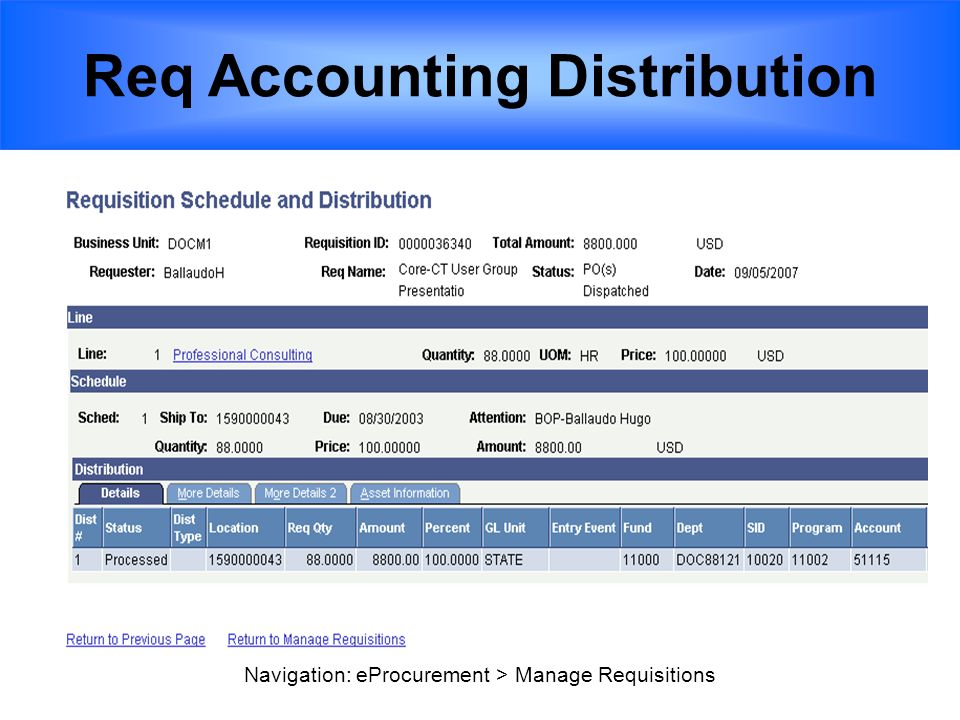 Req Accounting Distribution Navigation: eProcurement > Manage Requisitions
