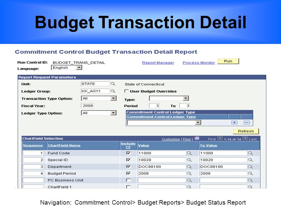 Budget Transaction Detail Navigation: Commitment Control> Budget Reports> Budget Status Report
