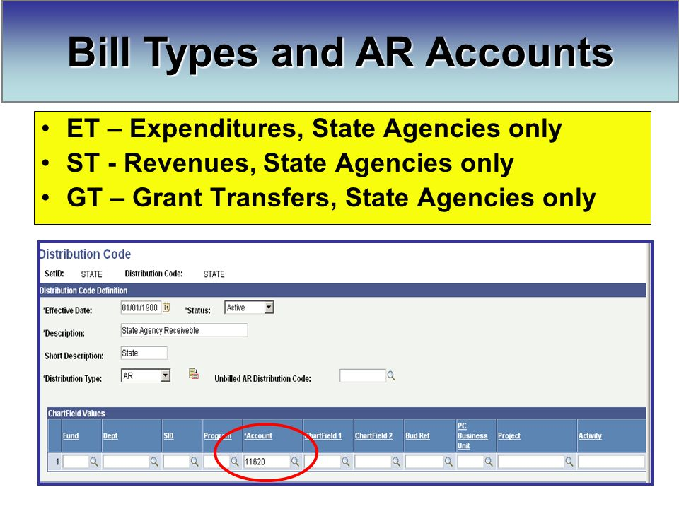 Bill Types and AR Accounts ET – Expenditures, State Agencies only ST - Revenues, State Agencies only GT – Grant Transfers, State Agencies only