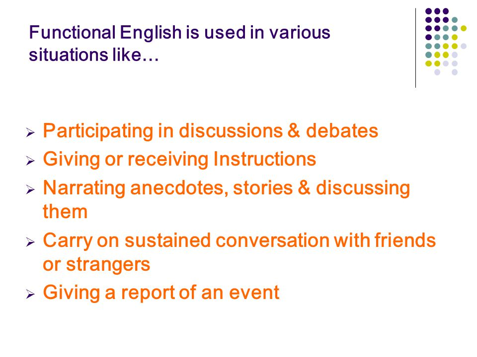 Functional English is used in various situations like…  Participating in discussions & debates  Giving or receiving Instructions  Narrating anecdot