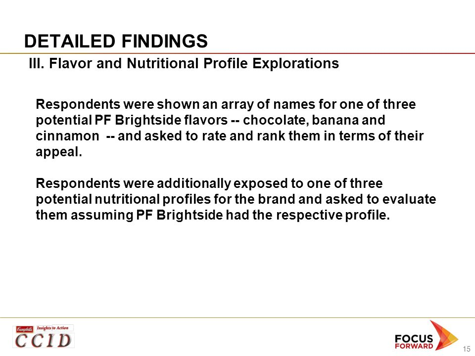 15 DETAILED FINDINGS III. Flavor and Nutritional Profile Explorations Respondents were shown an array of names for one of three potential PF Brightsid