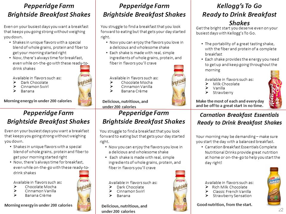 22 Pepperidge Farm Brightside Breakfast Shakes Even on your busiest days you want a breakfast that keeps you going strong without weighing you down. S