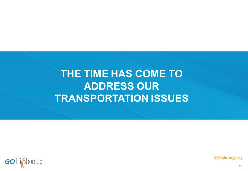 49 THE TIME HAS COME TO ADDRESS OUR TRANSPORTATION ISSUES