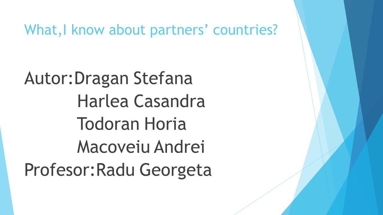 What,I know about partners' countries? Autor:Dragan Stefana Harlea Casandra Todoran Horia Macoveiu Andrei Profesor:Radu Georgeta