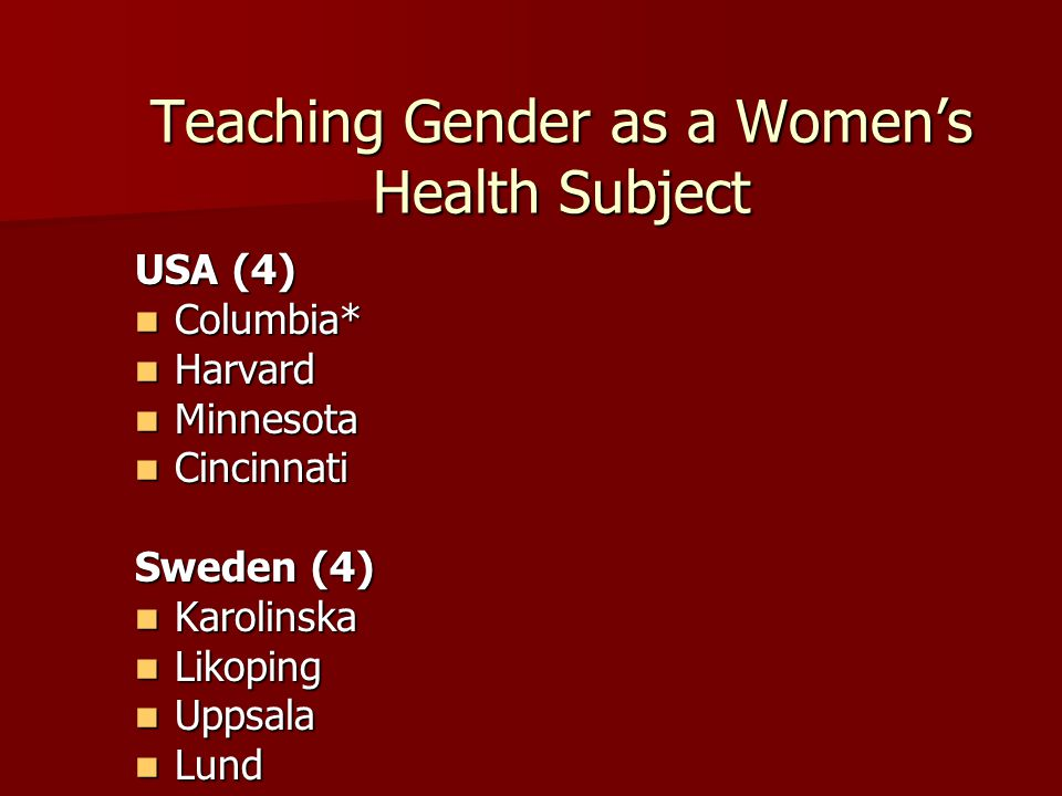 Teaching Gender as a Women's Health Subject USA (4) Columbia* Columbia* Harvard Harvard Minnesota Minnesota Cincinnati Cincinnati Sweden (4) Karolinska Karolinska Likoping Likoping Uppsala Uppsala Lund Lund