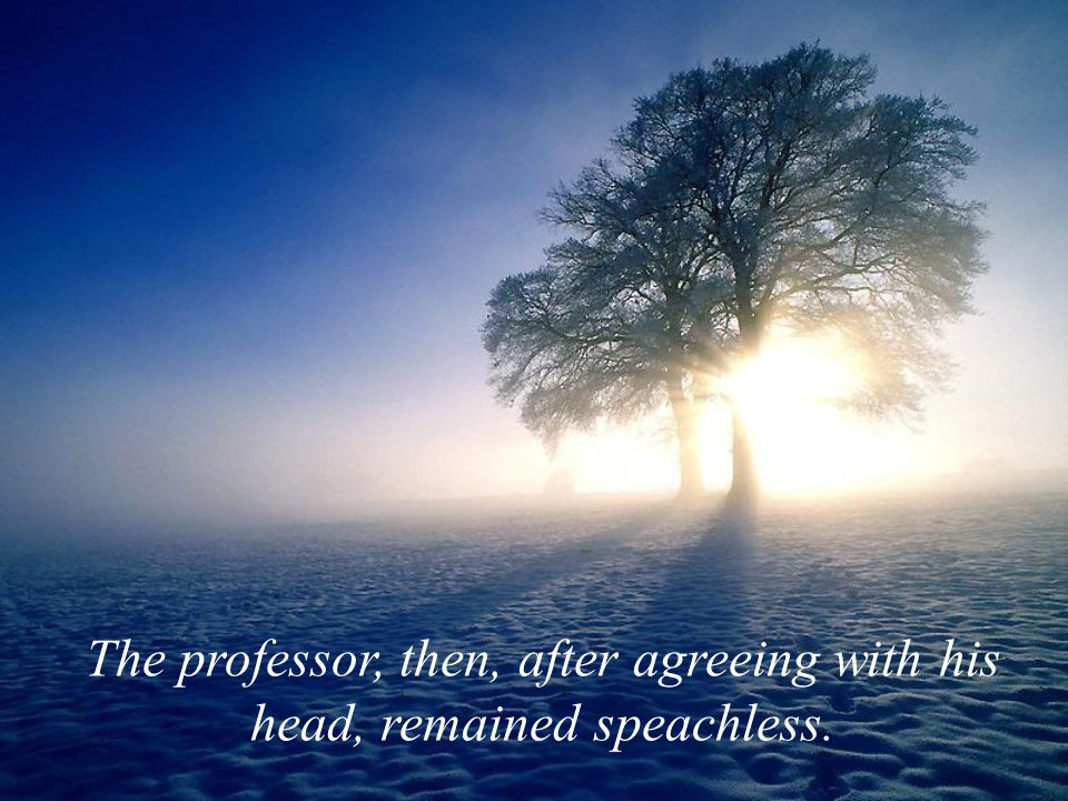The professor, then, after agreeing with his head, remained speachless.