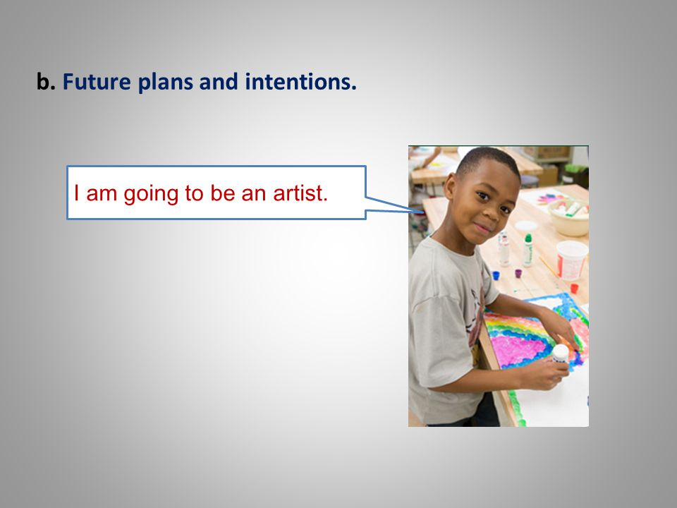 b. Future plans and intentions. I am going to be an artist.