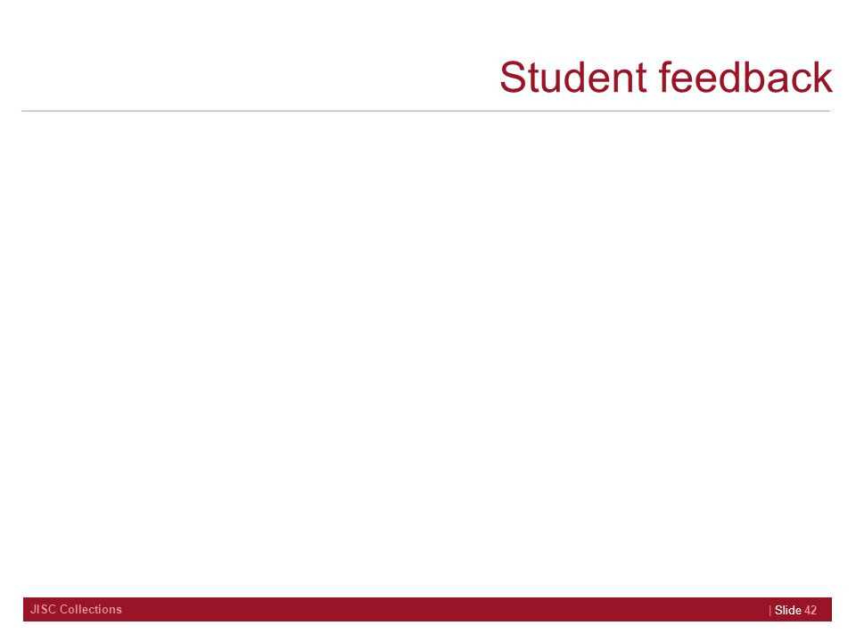 JISC Collections Student feedback | Slide 42