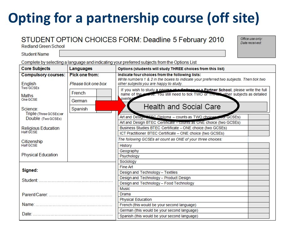 Opting for a partnership course (off site) Health and Social Care