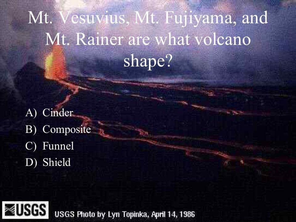 Mt. Vesuvius, Mt. Fujiyama, and Mt. Rainer are what volcano shape? A)Cinder B)Composite C)Funnel D)Shield