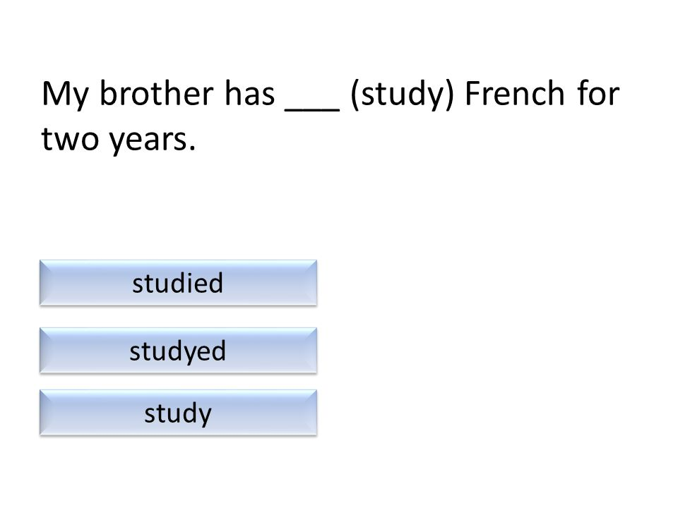 My brother has ___ (study) French for two years. study studied studyed