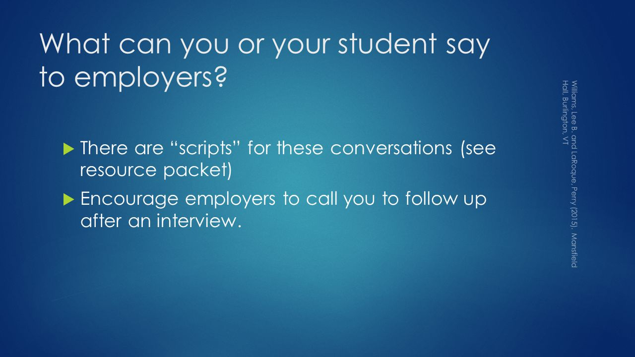 What can you or your student say to employers.