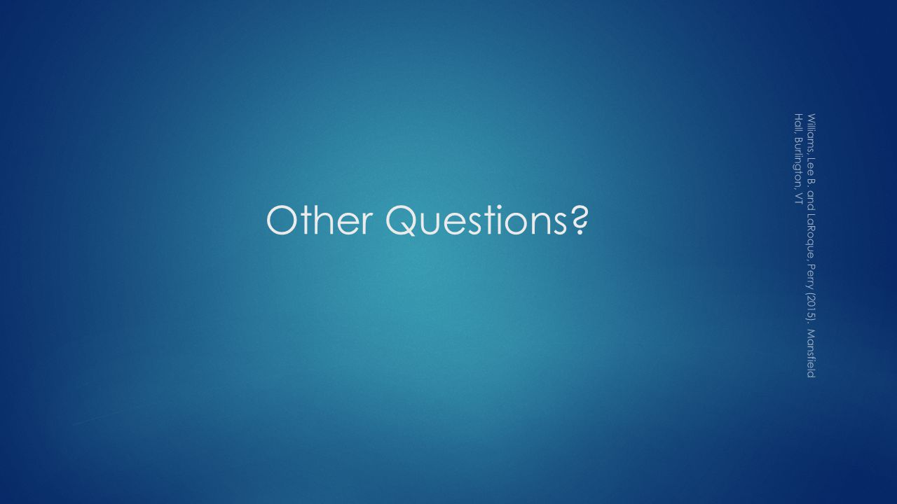 Other Questions Williams, Lee B. and LaRoque, Perry (2015). Mansfield Hall, Burlington, VT