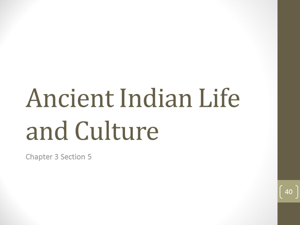 Ancient Indian Life and Culture Chapter 3 Section 5 40