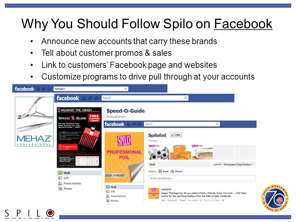 Why You Should Follow Spilo on Facebook Announce new accounts that carry these brands Tell about customer promos & sales Link to customers' Facebook page and websites Customize programs to drive pull through at your accounts