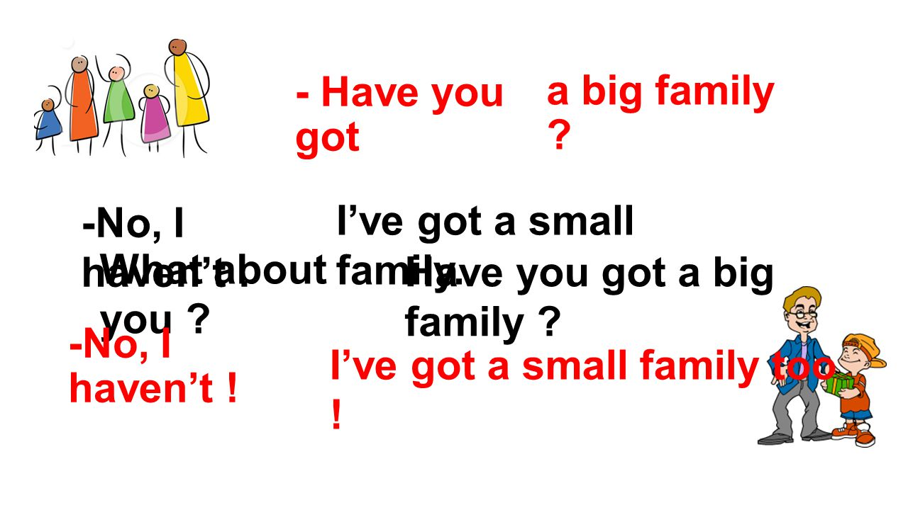 - Have you got a big family .-No, I haven't. I've got a small family.