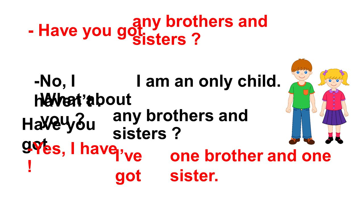 - Have you got any brothers and sisters .-No, I haven't.