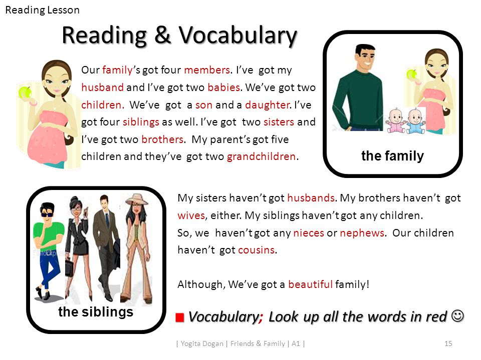 Reading & Vocabulary Our family's got four members. I've got my husband and I've got two babies. We've got two children. We've got a son and a daughte