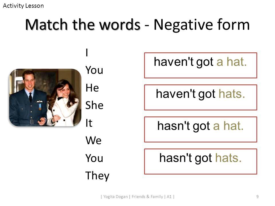 Match the words Match the words - Negative form 9| Yogita Dogan | Friends & Family | A1 | Activity Lesson haven't got a hat. haven't got hats. hasn't