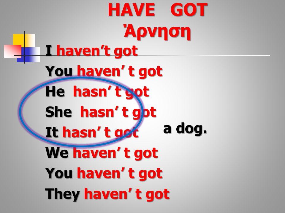 I haven't got You haven' t got He hasn' t got She hasn' t got It hasn' t got We haven' t got You haven' t got They haven' t got a dog.