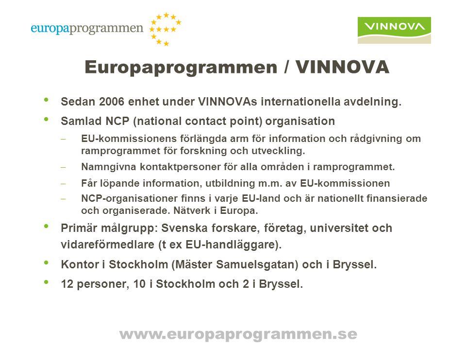 Europaprogrammen / VINNOVA Sedan 2006 enhet under VINNOVAs internationella avdelning.