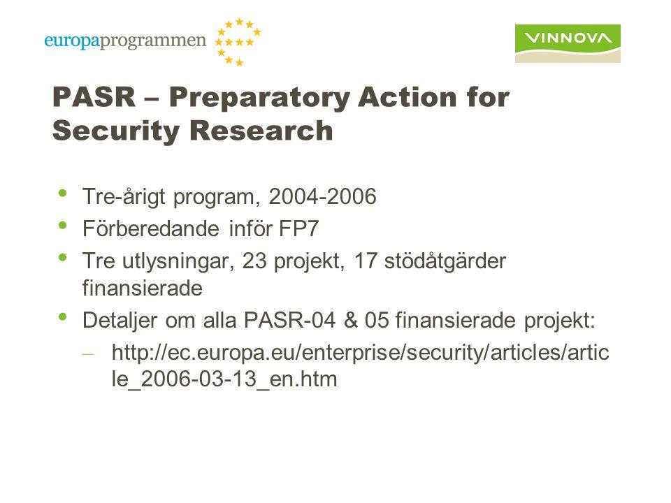 PASR – Preparatory Action for Security Research Tre-årigt program, 2004-2006 Förberedande inför FP7 Tre utlysningar, 23 projekt, 17 stödåtgärder finansierade Detaljer om alla PASR-04 & 05 finansierade projekt: – http://ec.europa.eu/enterprise/security/articles/artic le_2006-03-13_en.htm