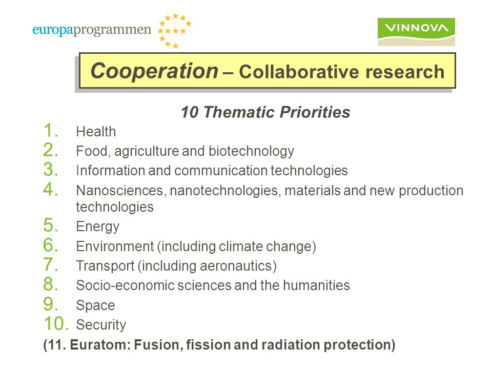 10 Thematic Priorities 1. Health 2. Food, agriculture and biotechnology 3.