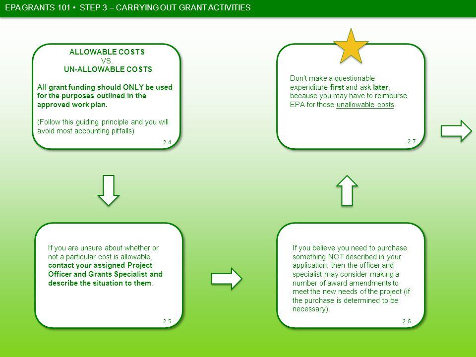 EPA GRANTS 101 ALLOWABLE COSTS VS.