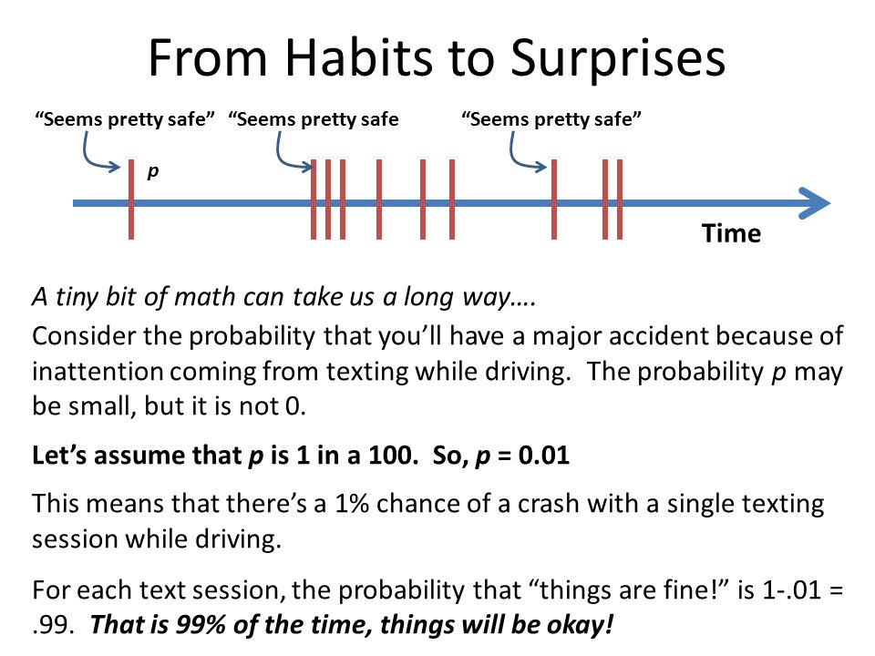 From Habits to Surprises A tiny bit of math can take us a long way…. Consider the probability that you'll have a major accident because of inattention