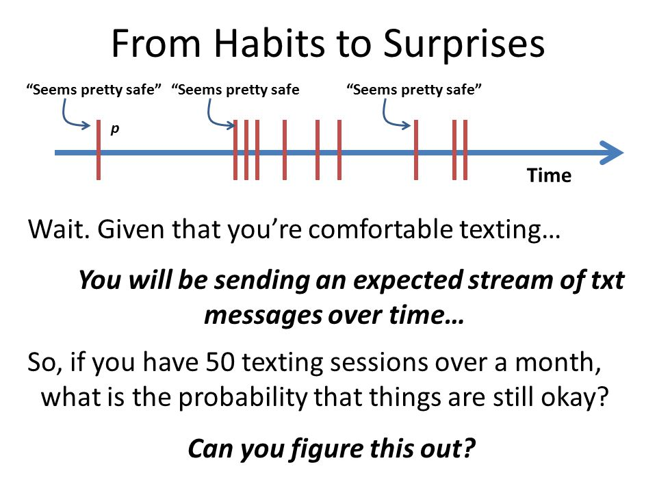 Wait. Given that you're comfortable texting… You will be sending an expected stream of txt messages over time… So, if you have 50 texting sessions ove