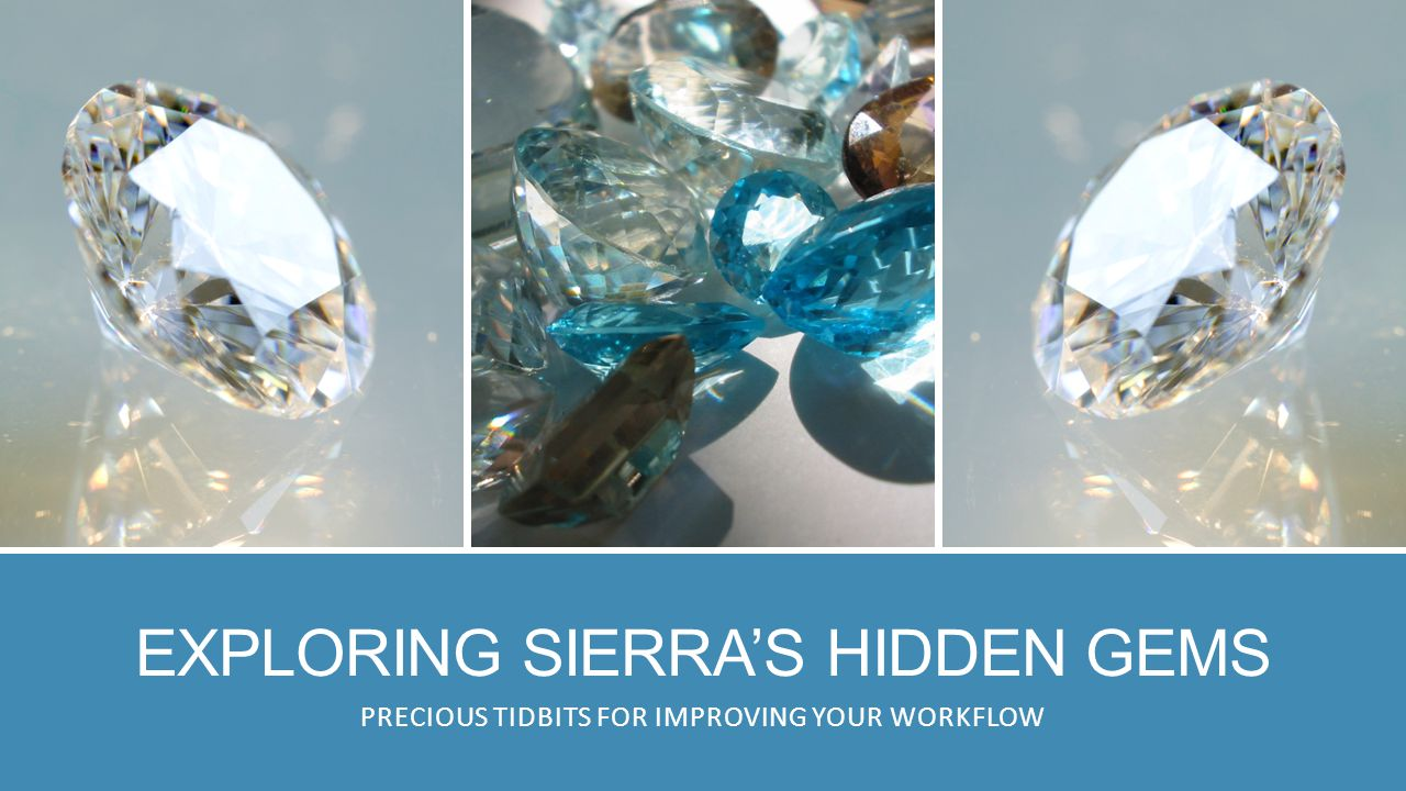 EXPLORING SIERRA'S HIDDEN GEMS PRECIOUS TIDBITS FOR IMPROVING YOUR WORKFLOW