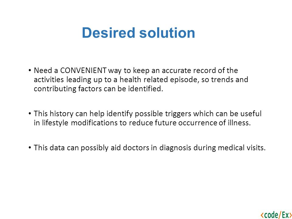 Desired solution Need a CONVENIENT way to keep an accurate record of the activities leading up to a health related episode, so trends and contributing factors can be identified.