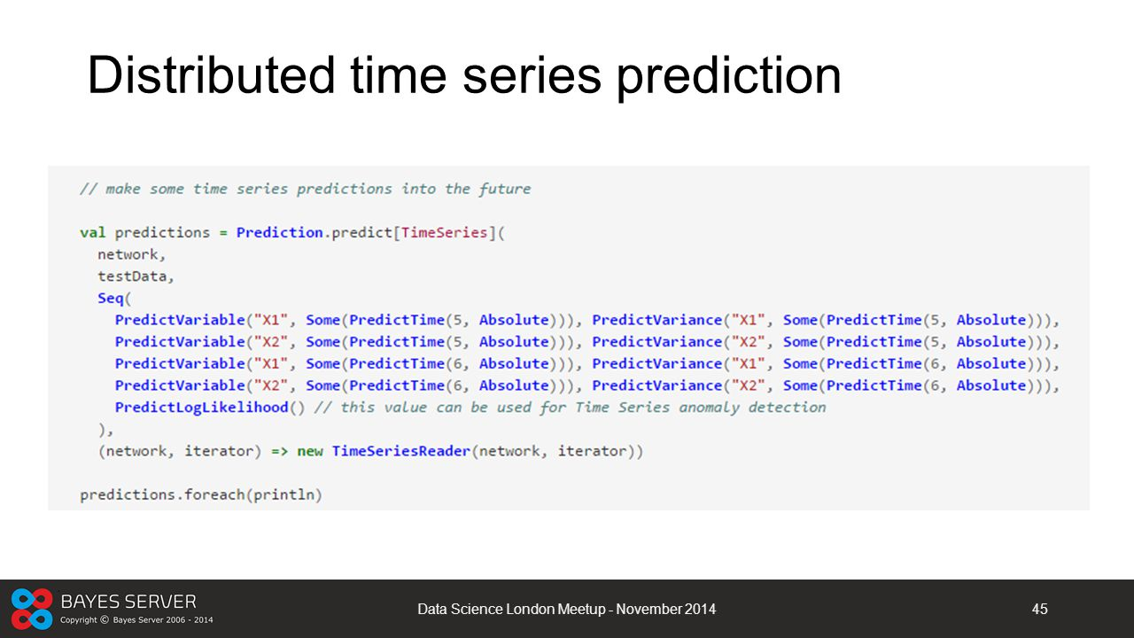 Distributed time series prediction Data Science London Meetup - November 201445