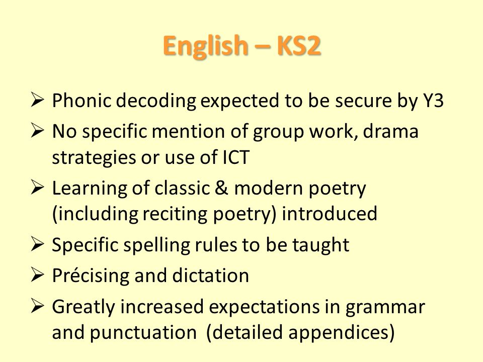 English – KS2  Phonic decoding expected to be secure by Y3  No specific mention of group work, drama strategies or use of ICT  Learning of classic & modern poetry (including reciting poetry) introduced  Specific spelling rules to be taught  Précising and dictation  Greatly increased expectations in grammar and punctuation (detailed appendices)