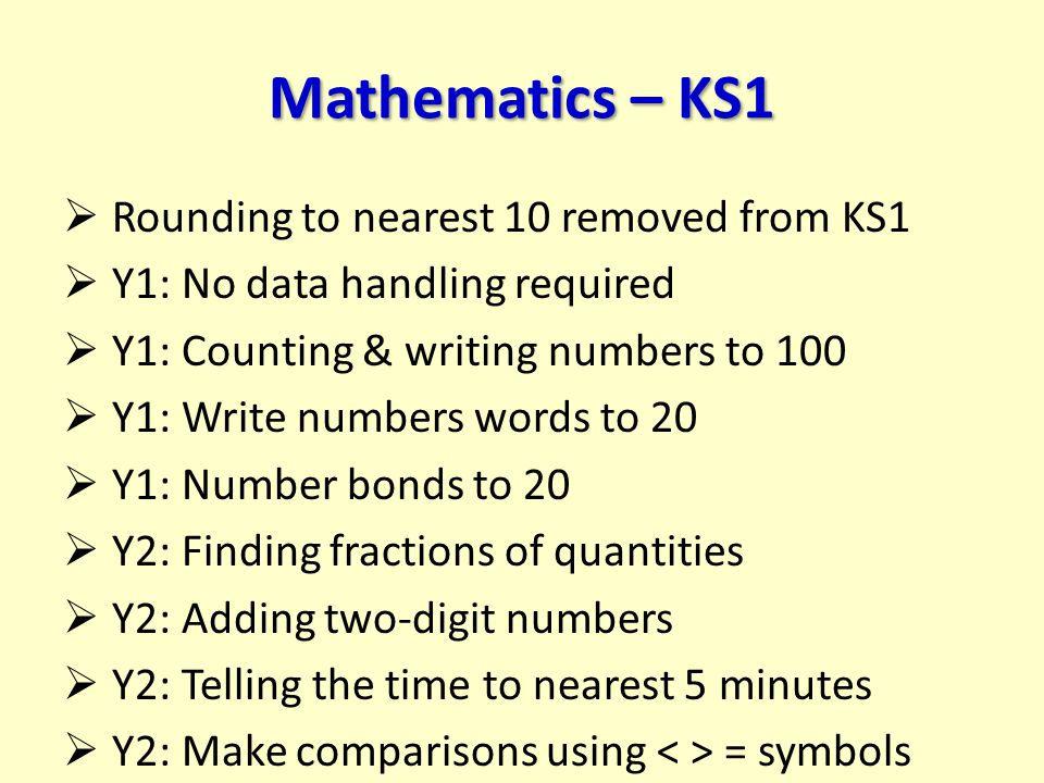 Mathematics – KS1  Rounding to nearest 10 removed from KS1  Y1: No data handling required  Y1: Counting & writing numbers to 100  Y1: Write number