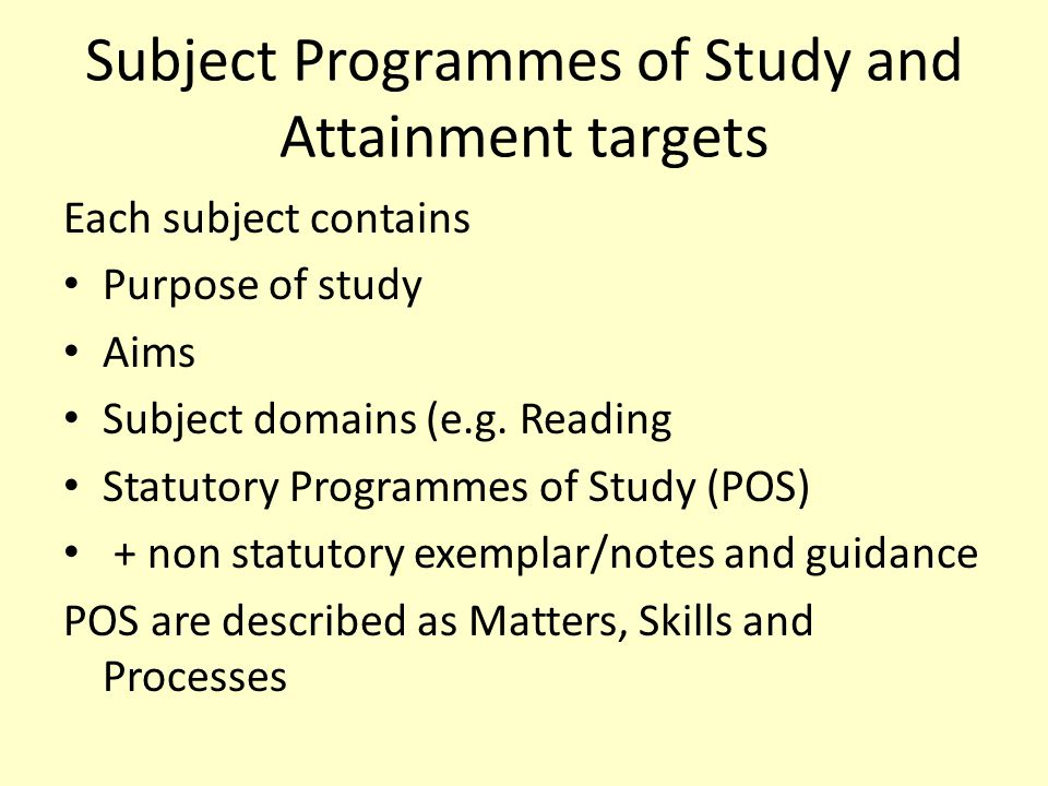 Subject Programmes of Study and Attainment targets Each subject contains Purpose of study Aims Subject domains (e.g.